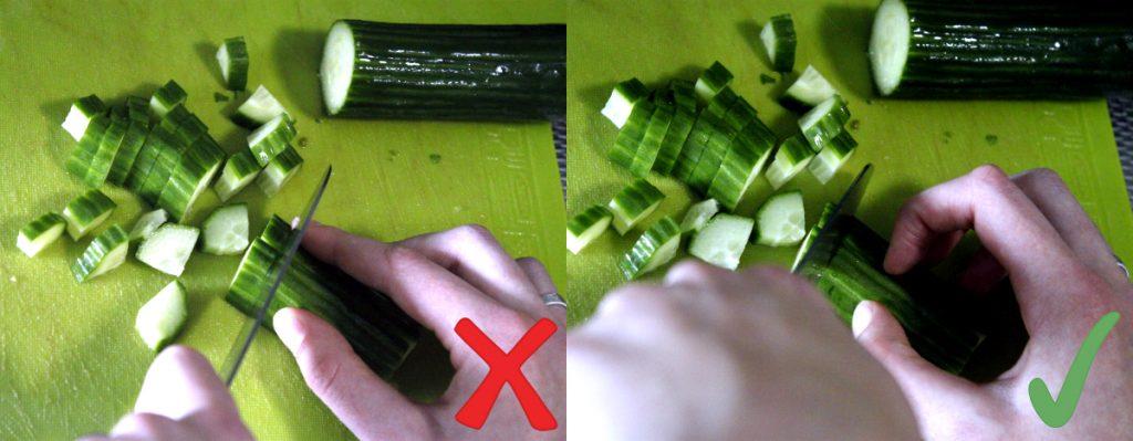 Ingrediënten snijden doe je met gekromde vingers, dan snijd je minder makkelijk in je vingers