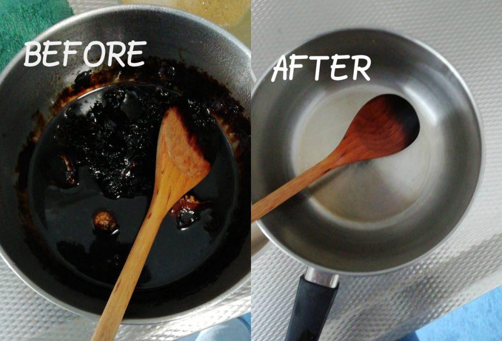 Aangebrande karamel voor én na een vaatwasblokje