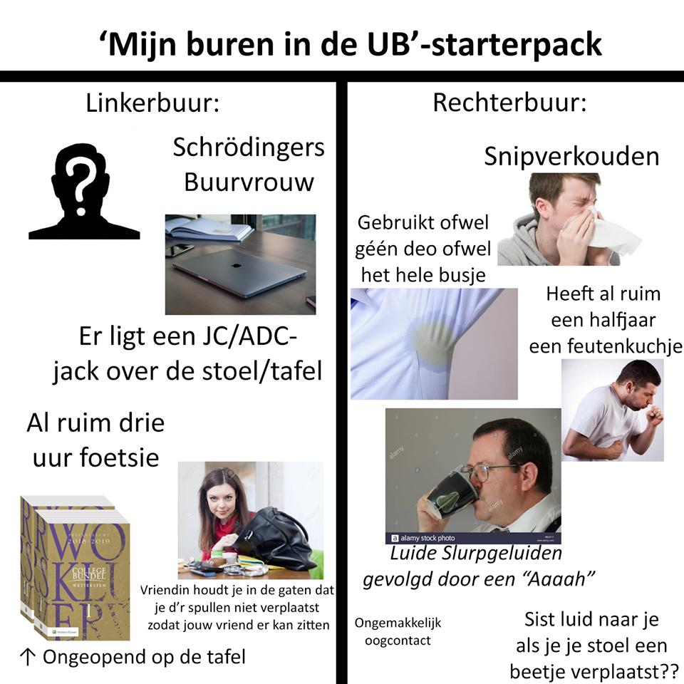 Meme van Lamme Leidse Memes over de ub. Maakt vaak gebruik van het studentenwoorenboek.