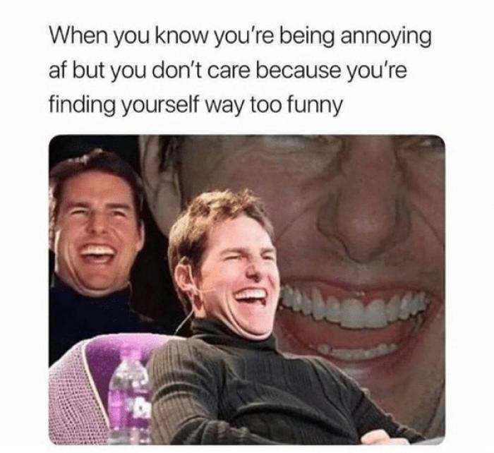 meme over jezelf heel grappig vinden.