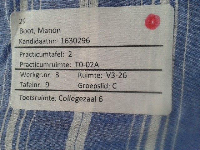 Mijn sticker met de info tijdens de onderwijsdag, als onderdeel van de decentrale selectie