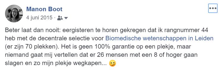 facebook bericht over mijn toelating bij Biomedische Wetenschappen na de decentrale selectie