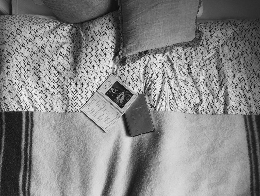 Foto van twee boeken, Decamerone en Orlando, op een bed.