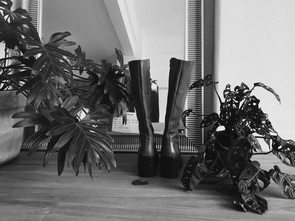 Laarzen voor een spiegel, gevallen blaadjes van een plant ernaast.