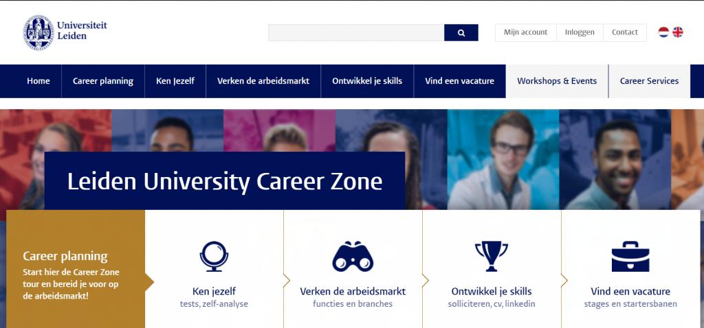 Screenshot van de website van Leiden University Career Zone
